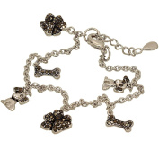 Dog Lovers Charm Bracelet with Genuine Marcasite