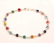 Evil Eye Murano Glass Bead Designer Sterling Silver Bracelet SD13, 5mm 7in
