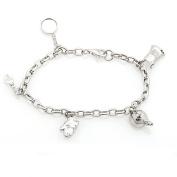 Sterling Silver Diamond Chef Charm Bracelet