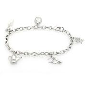 Sterling Silver Diamond Garden Charm Bracelet