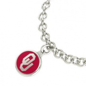 Oklahoma Sooners Sterling Silver Jewellery and Enamel Charm Bracelet.