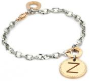 "Rebecca ""Word"" Rose Gold Over Bronze Letter ""Z"" Bracelet"