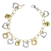 14k Two Tone Bonded Gold and Silver Heart Charm Bracelet