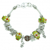 Yellow Floral Travel Murano Style Glass Beads and Charms Bracelet, 19.1cm