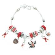 Peach Hope Enamel Beads and Rhinestone Charms Bracelet, 19.1cm