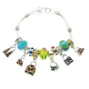 Mixed Handbags Murano Style Glass Beads and Rhinestone Charms Bracelet, 19.1cm