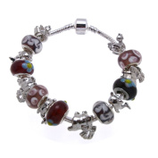 Red Animals Murano Style Glass Beads and Charms Bracelet, 19.1cm