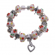 White Fruity Heart Murano Style Glass Beads and Charms Bracelet, 19.1cm