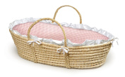 Badger Basket Natural Moses Basket with Gingham Bedding