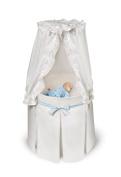 Badger Basket Empress Round Baby Bassinet - White Bedding with Gingham Belts