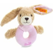 Steiff Hoppel Rabbit Grip Toy with Rattle (Pale Pink, 12cm) 237591