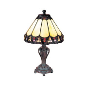 Dale Tiffany 8034/640 Peacock Accent Lamp, Antique Bronze and Art Glass Shade