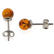 Certified Genuine Honey Amber and Sterling Silver Small Stud Ball Earrings, 8mm