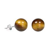 925 Sterling Silver 10mm Natural Brown Tigers Eye Ball Stud Post Earrings