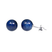 925 Sterling Silver 8mm Natural Afghani Lapis Lazuli Ball Stud Post Earrings