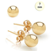 High Polish 14K Yellow Gold 7MM Ball Earrings With Post Friction Back