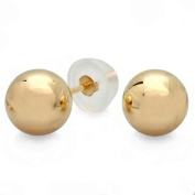 Solitaire Stud Earrings Round Ball 14k Yellow Gold with Silicone Push Back 8 mm
