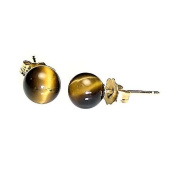 14K Yellow Gold 6mm Natural Brown Tigers Eye Ball Stud Post Earrings