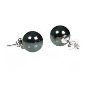 14K White Gold 8mm Natural Black Diamond Hematite Ball Stud Post Earrings