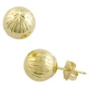 14 Karat Yellow Gold 8mm Diamond-Cut Ball Earrings