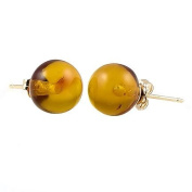14K Yellow Gold 8mm Natural Baltic Honey Amber Ball Stud Post Earrings