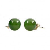 14K Yellow Gold 8mm Natural Nephrite Green Jade Ball Stud Post Earrings
