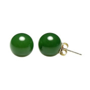 14K Yellow Gold 10mm Natural Nephrite Green Jade Ball Stud Post Earrings