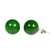 14K White Gold 12mm Natural Nephrite Green Jade Ball Stud Post Earrings