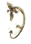 Wyvern Dragon Earring Ear Cuff Metal Wrap Ancient Wyrm Gold Tone Fantasy Fashion Jewellery