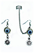 "Evil Eye Earrings with Chained Handmade Ear Cuff By "" Earlums"""