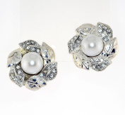 Clear Crystal Leaves and 12mm White Faux Pearl Clip-on Earrings