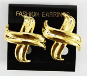 Gold Plated Embellished X Earrings - Fashion Clip On Earrings