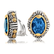 Mothers Day Gifts Bling Jewellery Blue Topaz Colour Crystal Oval Two Tone Bali Style Clip On Earrings
