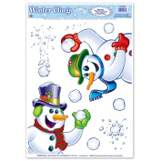 Snowman Clings (6 snowballs included) Party Accessory  (1 count)