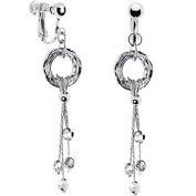 Handcrafted Austrian Crystal Modish Circular Cosmic Drop Clip Earrings