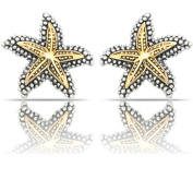 JanKuo Jewellery Two Tone Gold and Silver Antique Vintage Style Starfish Clip On Earrings