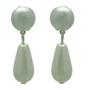 Farica Small Silver White Pearl Clip On Earrings