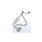 Slave Chain Feather Ear Cuff Earring Silver Tone Stainless Steel