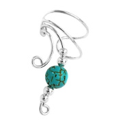 Sterling Silver Left Only Curly Q Turquoise Bead Ear Cuff