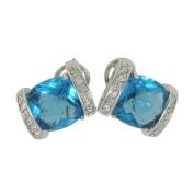 Stud Earrings w/Blue & White CZs