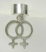 Female Gay Pride Symbol on an Ear Cuff in Sterling Silver