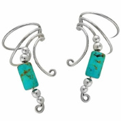 Sterling Silver Turquoise Cylinder Wave Ear Cuff Wrap Set