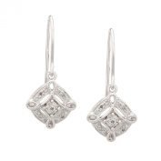 Sterling Silver Diamond Accent Pave Drop Earrings by DiAura
