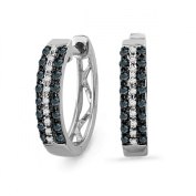 Platinum Plated Sterling Silver Blue And White Round Diamond Hoop Earring