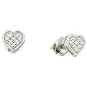 0.05 Carat (ctw) 10k White Gold White Diamond Ladies Heart Shape Stud Earrings