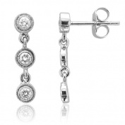 14k White Gold 3 Stone Drop Dangle Diamond Earrings