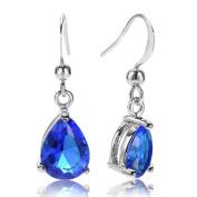 Rizilia Jewellery Pear Cut Gemstones CZ White gold Plated Dangle Earrings Simple Modern Elegance [Free Jewellery Pouch]