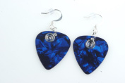 Guitar Pick Earrings with Silver Swirled Charm