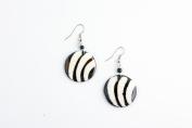 Maisha Beautiful African Fair Trade Round Black and Off White Zebra Circle Bone Design Up cycled Camel Batiked Bone Earrings