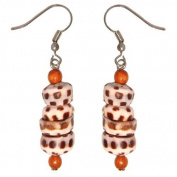 Hawaiian Tiger Puka Shell Dangling Earrings Koa Wood Beads
